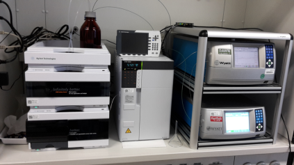 Gel permeation chromatography (GPC) instrument with light scattering and refractive index detectors.